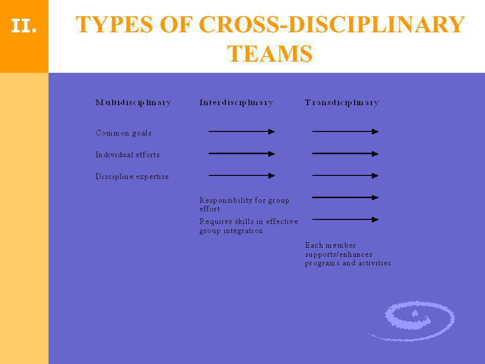 TYPES OF CROSS-DISCIPLINARY TEAMS