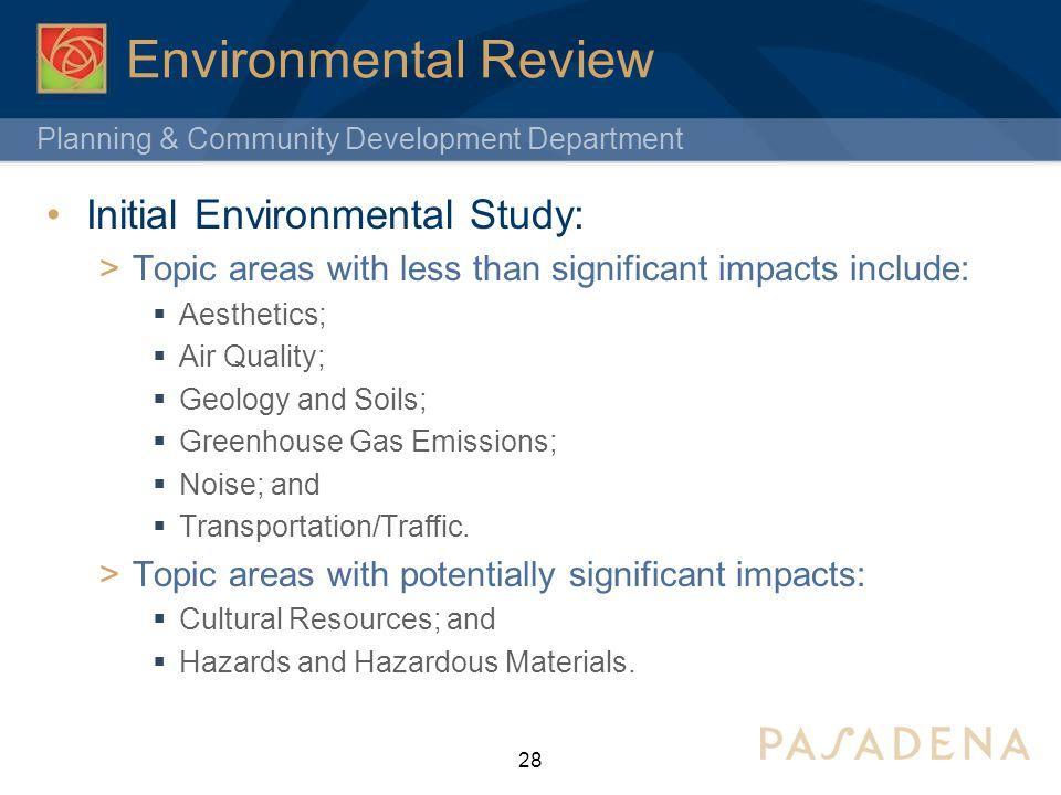 Environmental Review Initial Environmental Study: