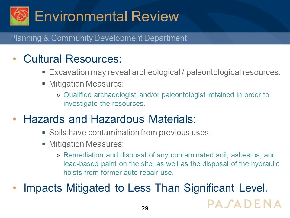 Environmental Review Cultural Resources: