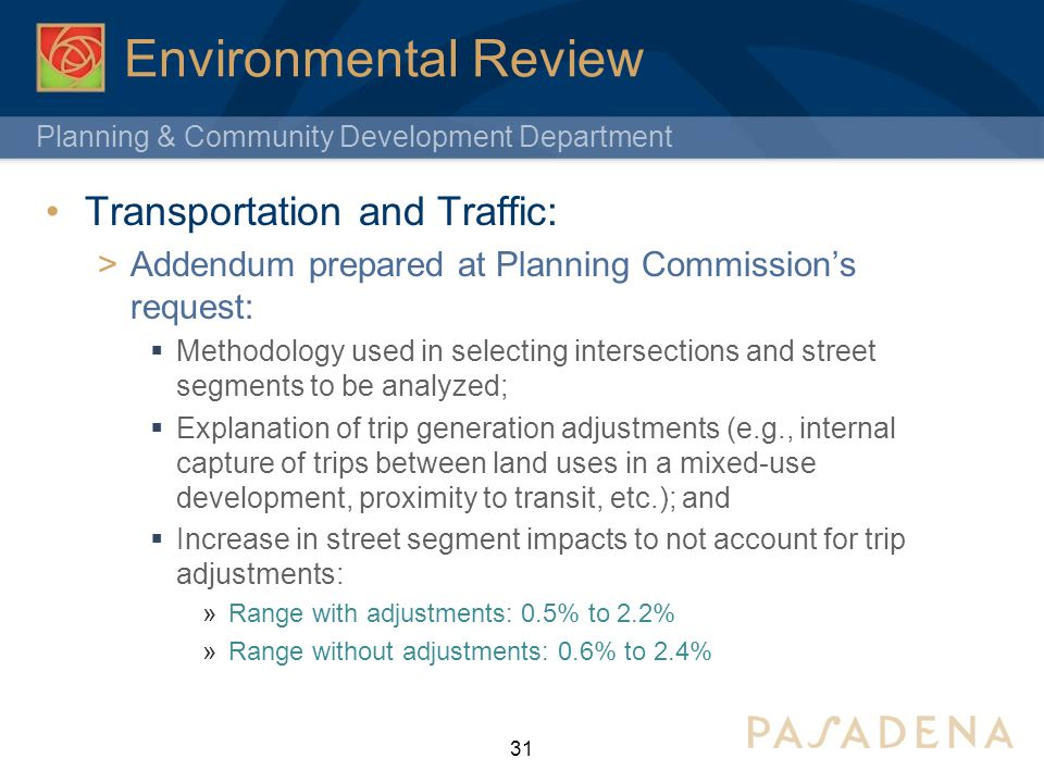 Environmental Review Transportation and Traffic: