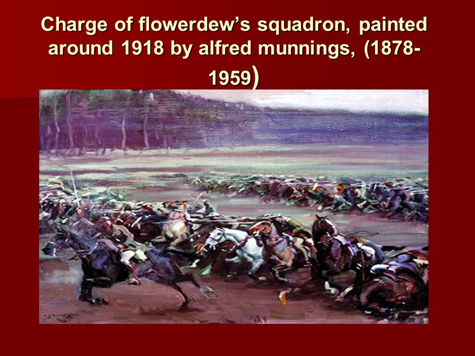 Charge of flowerdew's squadron, painted around 1918 by alfred munnings, (1878-1959)