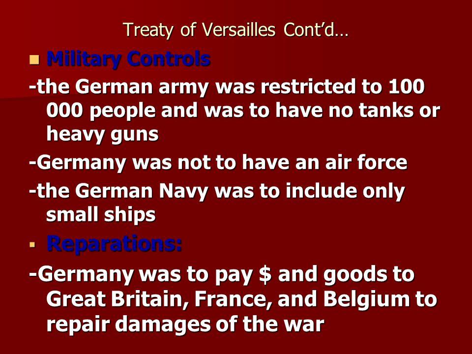 Treaty of Versailles Cont'd…