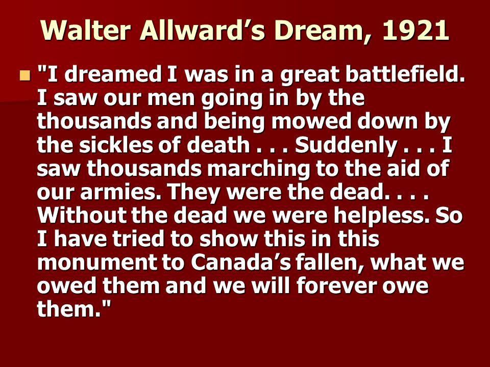 Walter Allward's Dream, 1921