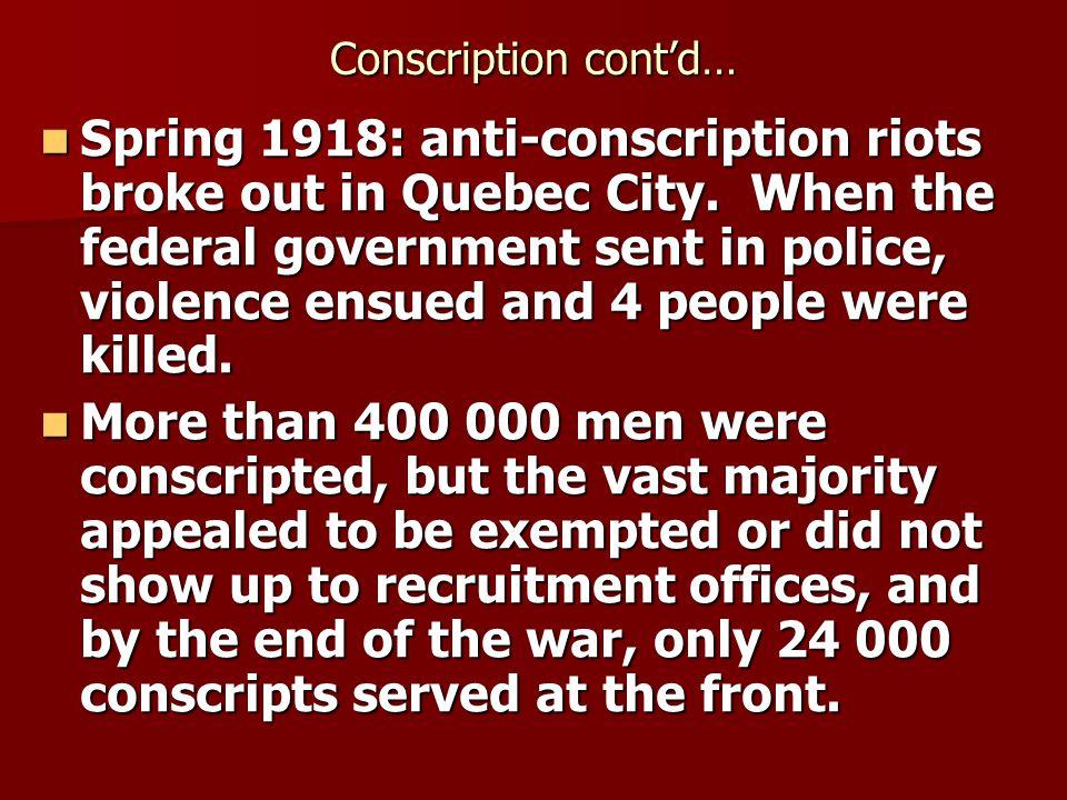 Conscription cont'd…
