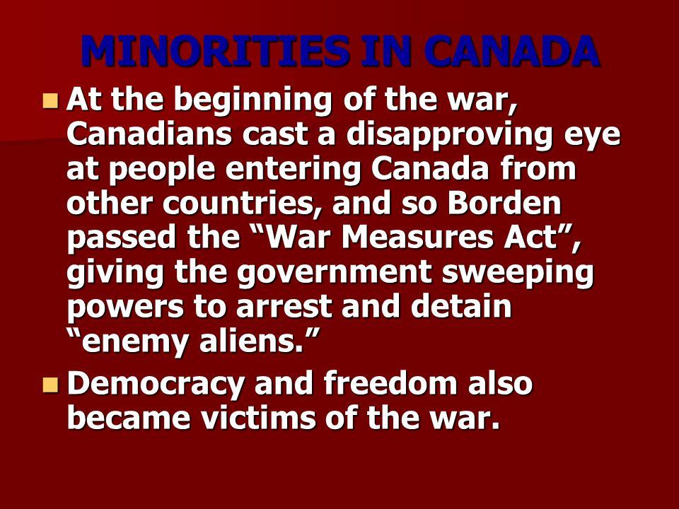 MINORITIES IN CANADA