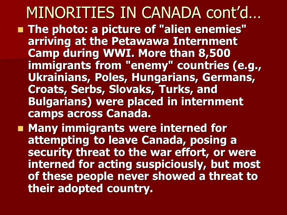 MINORITIES IN CANADA cont'd…