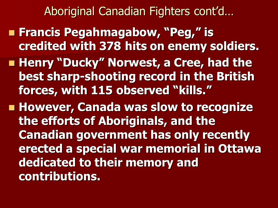 Aboriginal Canadian Fighters cont'd…