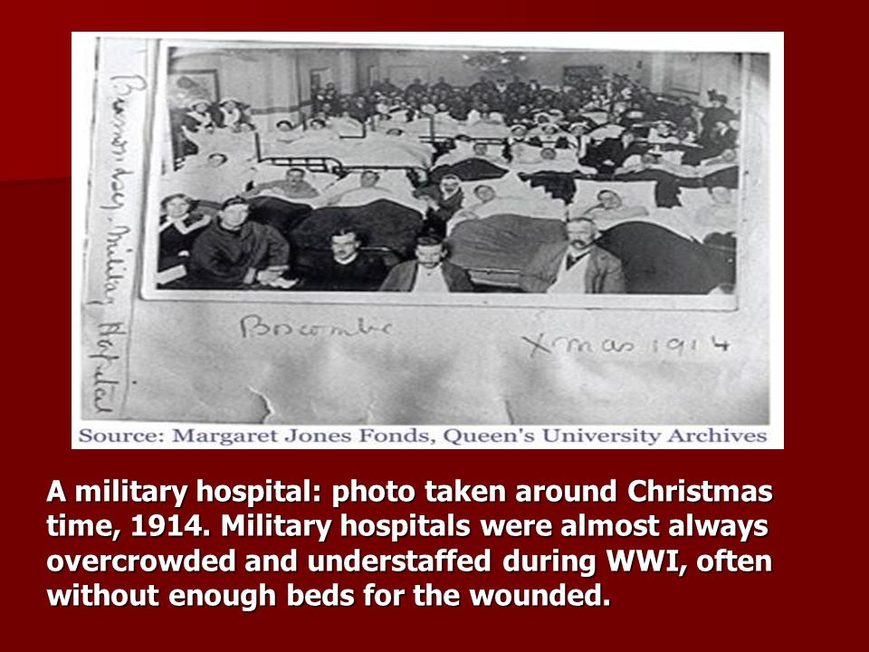 A military hospital: photo taken around Christmas time, 1914