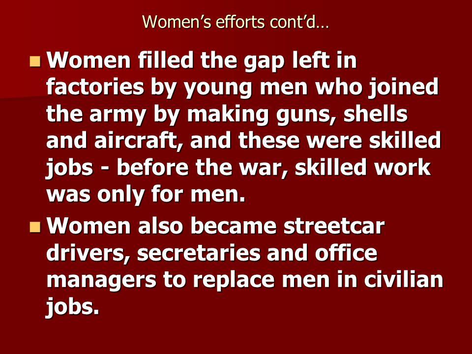 Women's efforts cont'd…