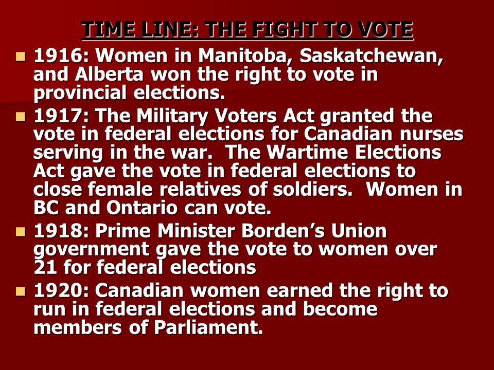 TIME LINE: THE FIGHT TO VOTE