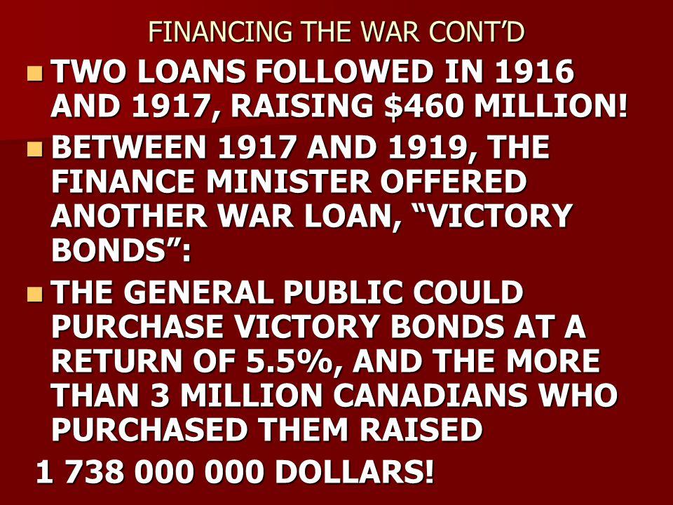 FINANCING THE WAR CONT'D