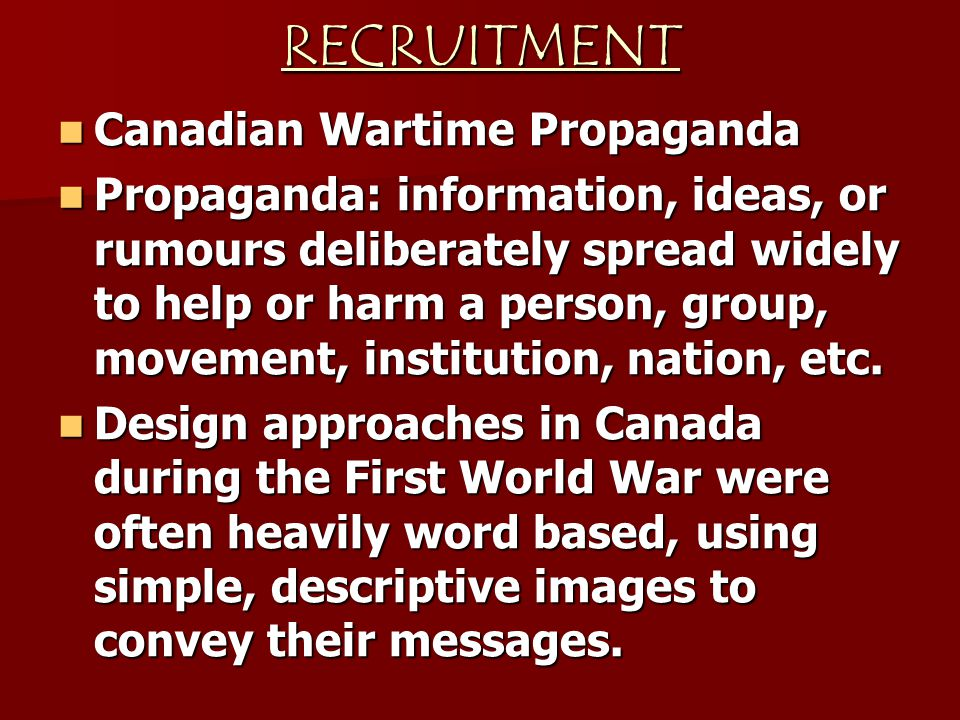 RECRUITMENT Canadian Wartime Propaganda