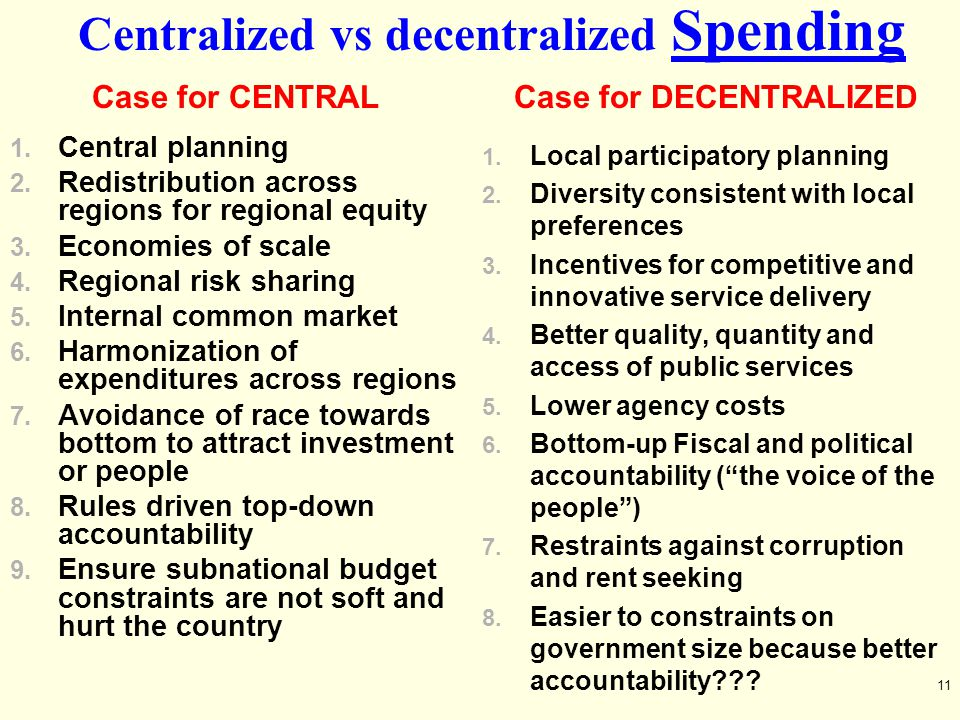Centralized vs decentralized Spending