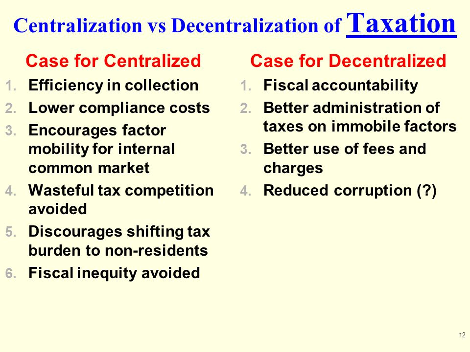 Centralization vs Decentralization of Taxation