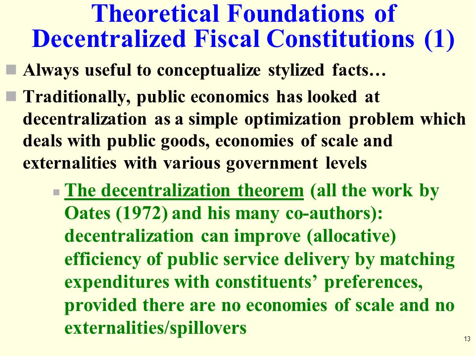 Theoretical Foundations of Decentralized Fiscal Constitutions (1)