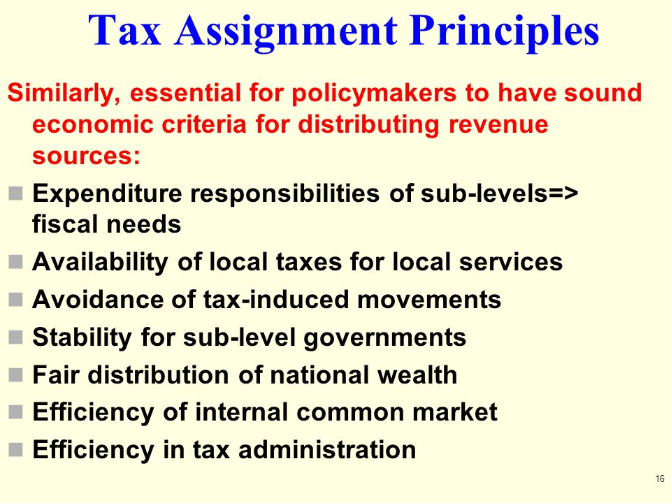 Tax Assignment Principles