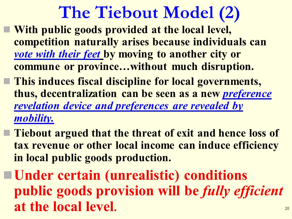 The Tiebout Model (2)