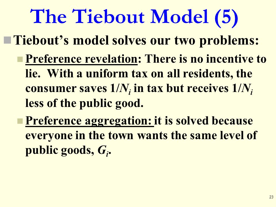 The Tiebout Model (5) Tiebout's model solves our two problems: