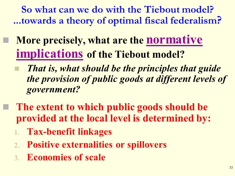 So what can we do with the Tiebout model