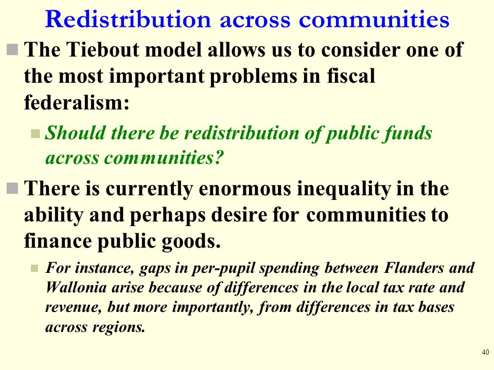 Redistribution across communities