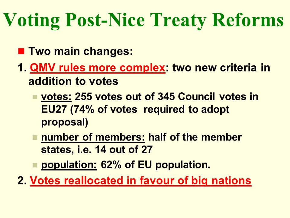 Voting Post-Nice Treaty Reforms