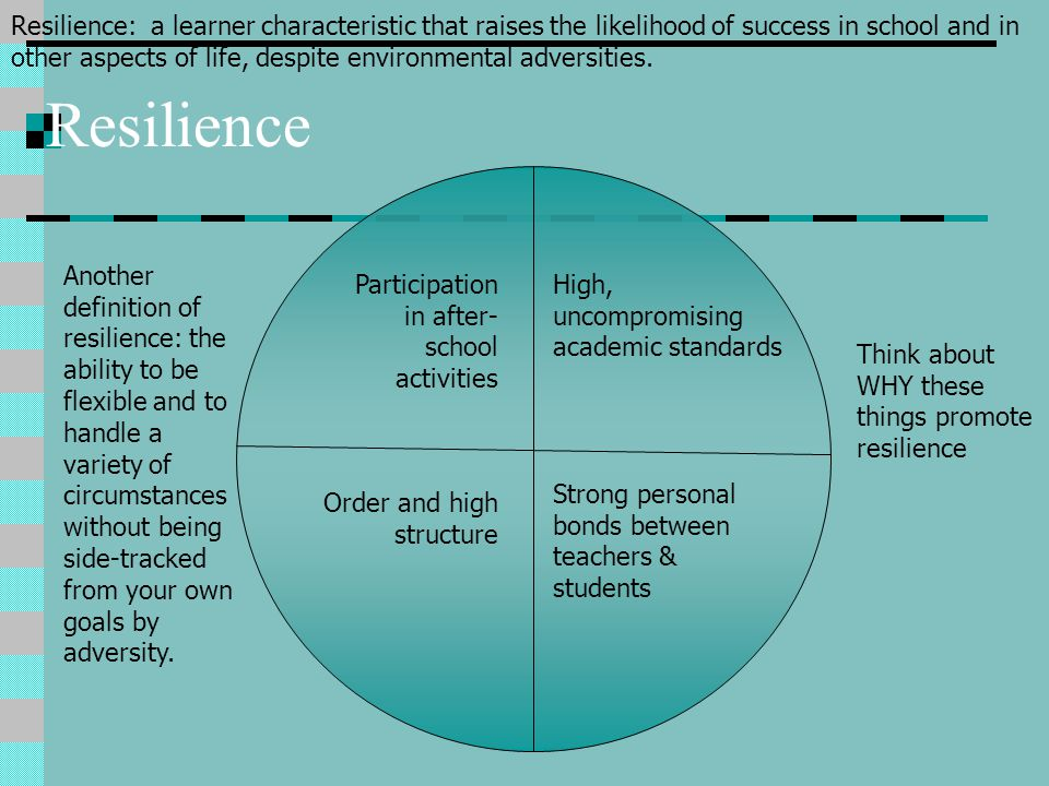 Resilience: a learner characteristic that raises the likelihood of success in school and in other aspects of life, despite environmental adversities.