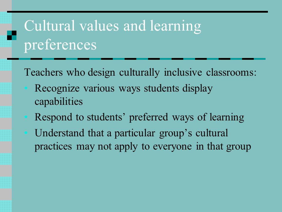 Cultural values and learning preferences