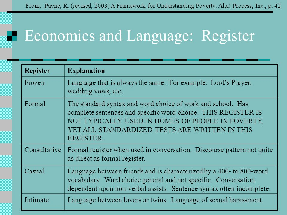 Economics and Language: Register