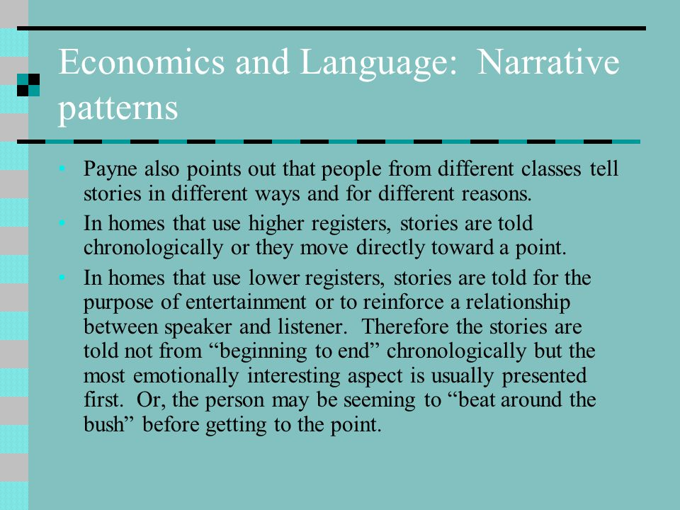 Economics and Language: Narrative patterns