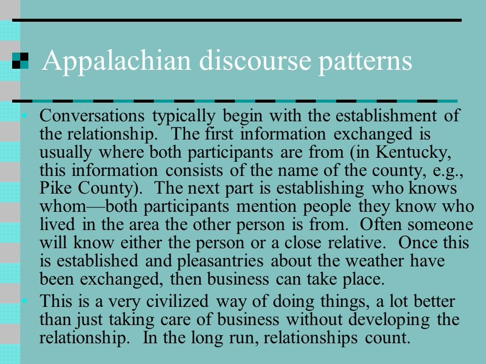 Appalachian discourse patterns