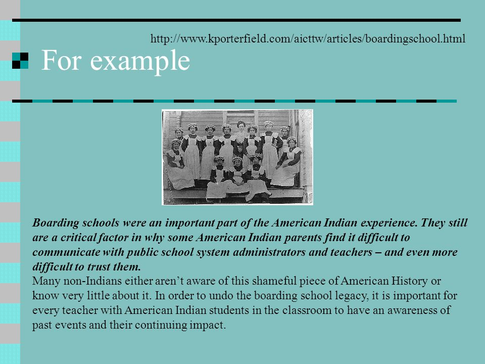 For example http://www.kporterfield.com/aicttw/articles/boardingschool.html.