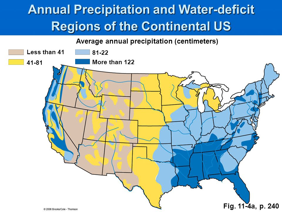 Annual Precipitation and Water-deficit Regions of the Continental US