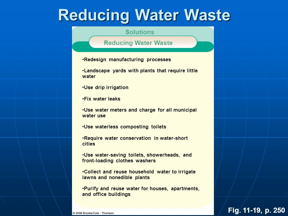 Reducing Water Waste Fig. 11-19, p. 250 Solutions Reducing Water Waste