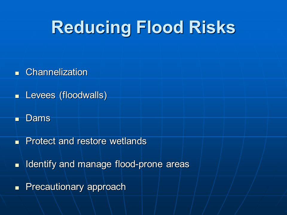 Reducing Flood Risks Channelization Levees (floodwalls) Dams