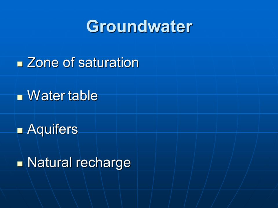 Groundwater Zone of saturation Water table Aquifers Natural recharge