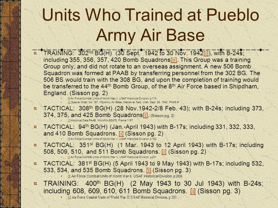 Units Who Trained at Pueblo Army Air Base