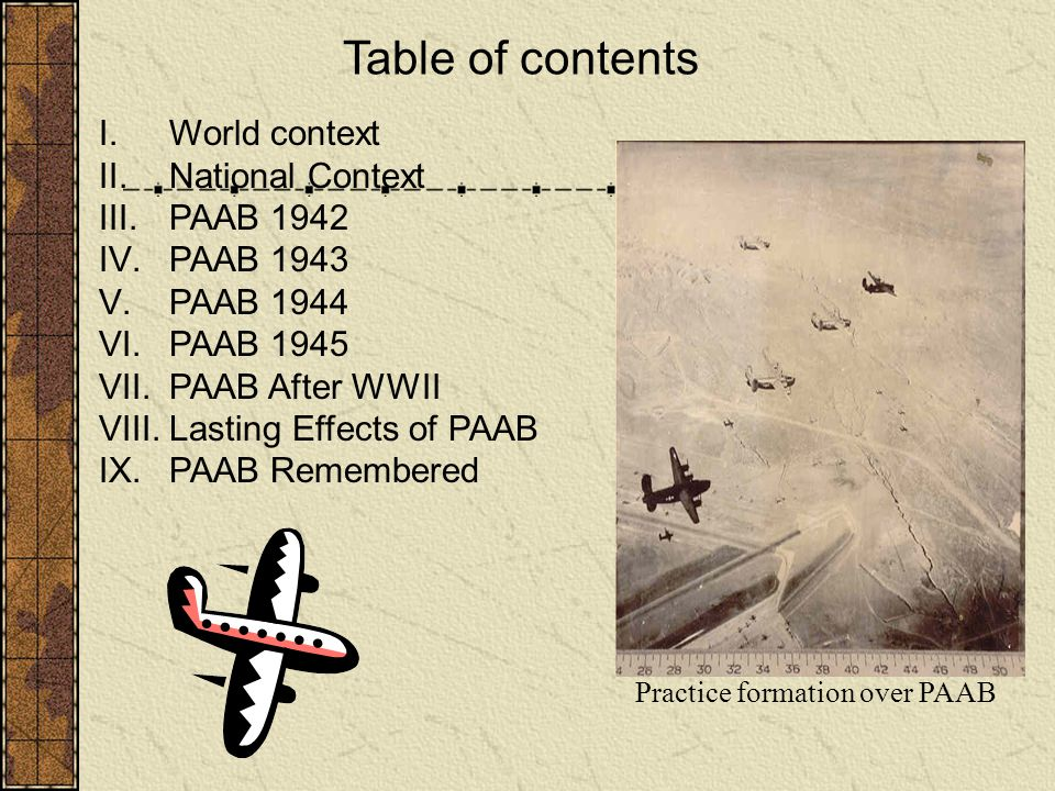 Table of contents World context National Context PAAB 1942 PAAB 1943