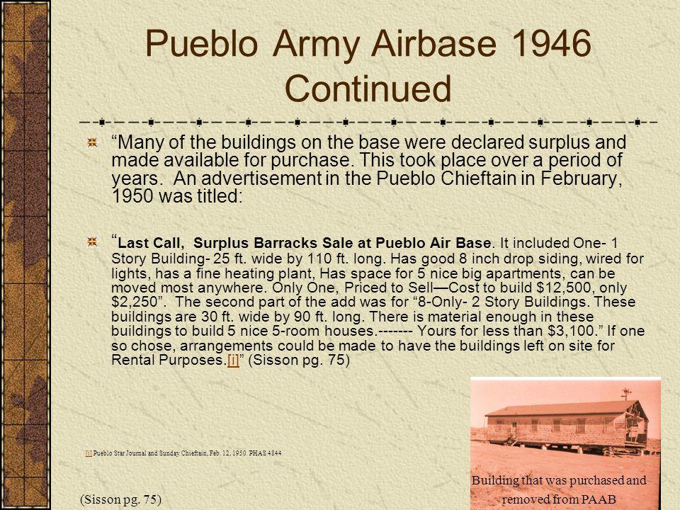 Pueblo Army Airbase 1946 Continued