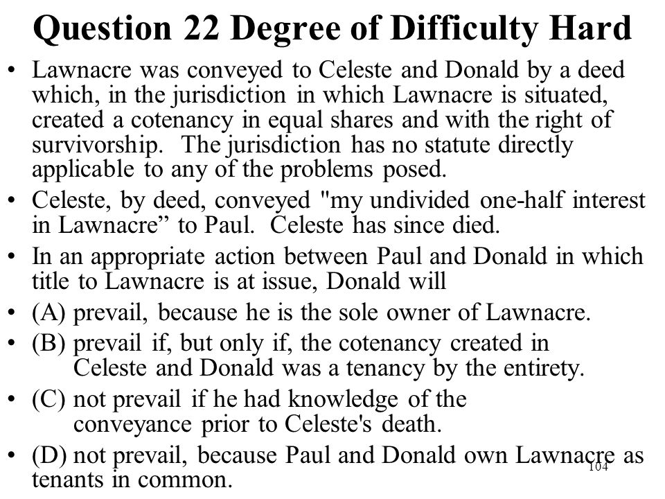 Question 22 Degree of Difficulty Hard