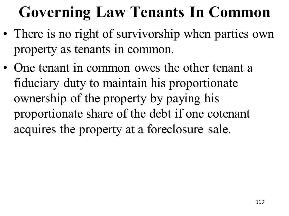 Governing Law Tenants In Common