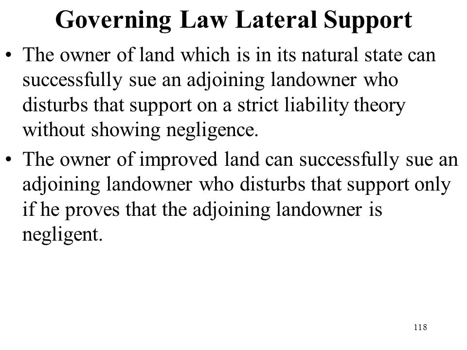 Governing Law Lateral Support