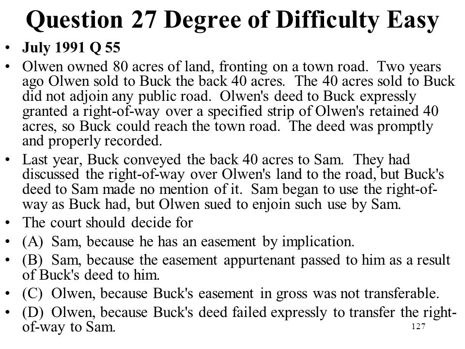 Question 27 Degree of Difficulty Easy
