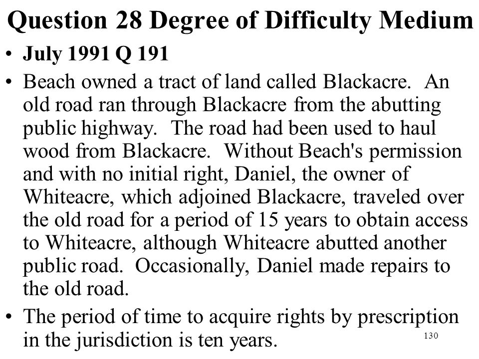 Question 28 Degree of Difficulty Medium