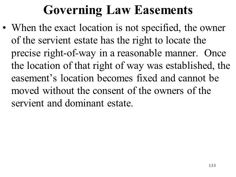 Governing Law Easements