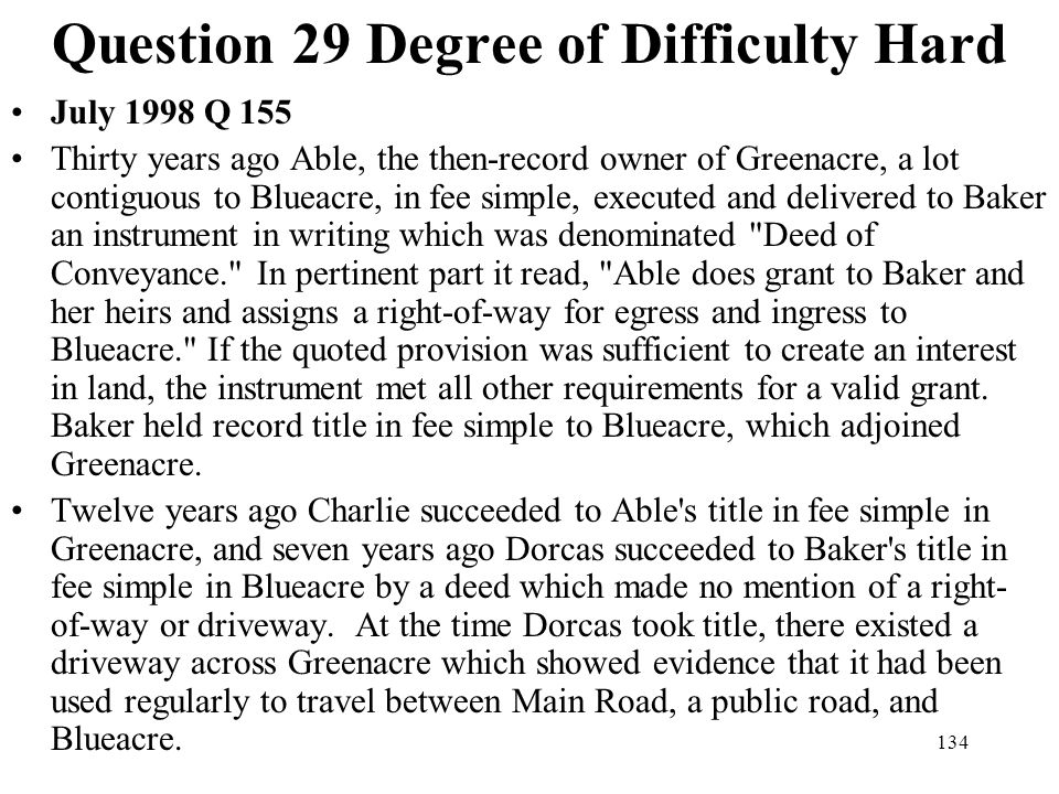 Question 29 Degree of Difficulty Hard