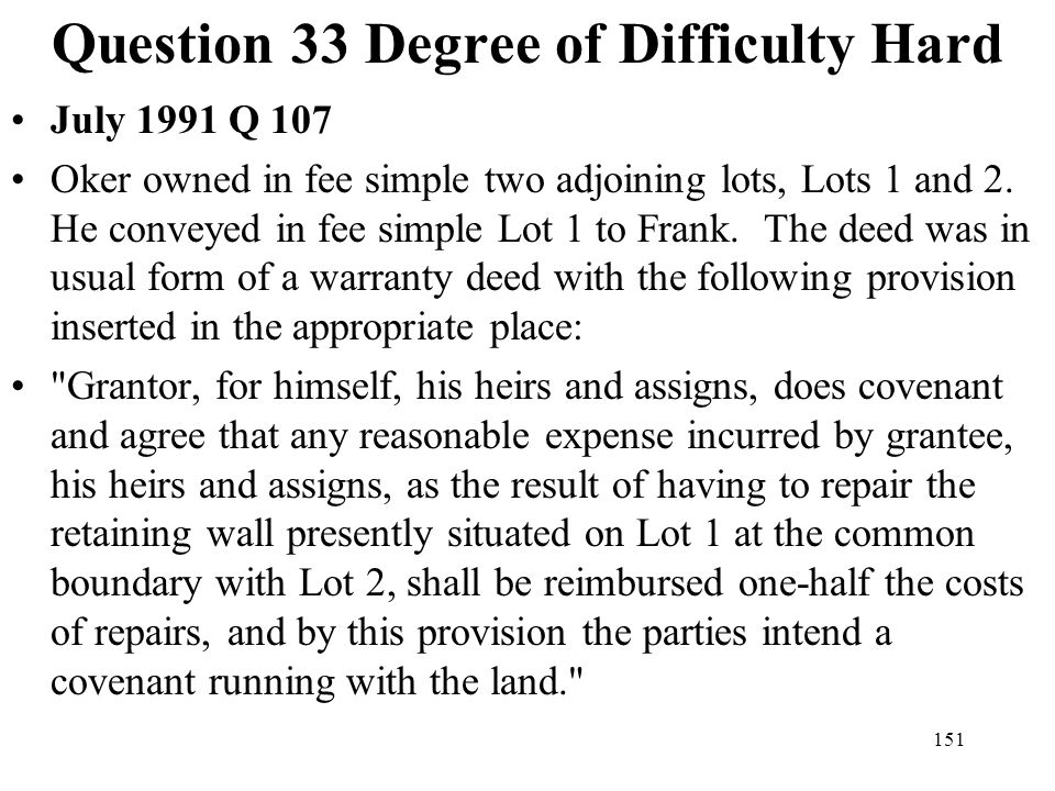Question 33 Degree of Difficulty Hard