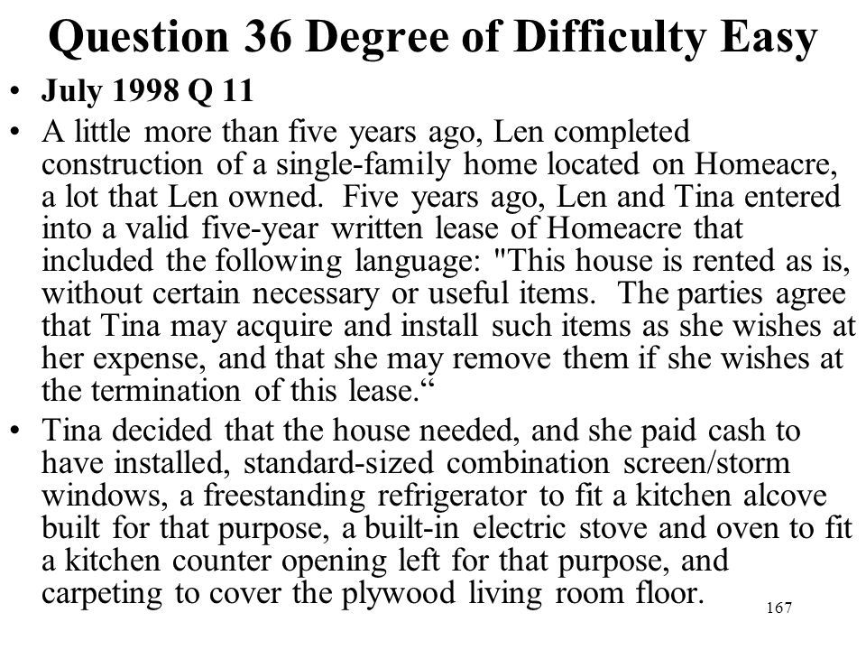 Question 36 Degree of Difficulty Easy