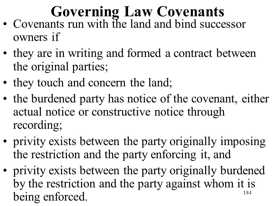 Governing Law Covenants