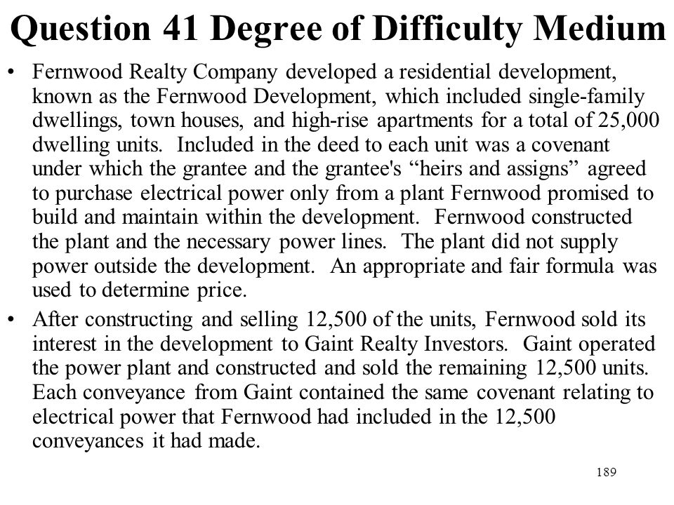 Question 41 Degree of Difficulty Medium