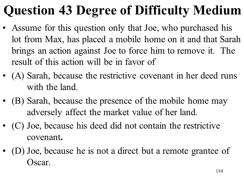 Question 43 Degree of Difficulty Medium